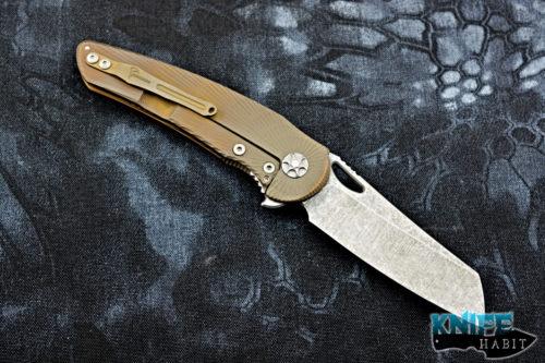 custom jake hoback osf knife, bronze star finished titanium, acid stonewashed blade steel