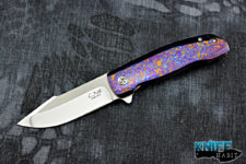 custom chad nell esg knife, moire timascus frame lock, cts-xhp mirror polished cts-xhp blade steel