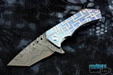 custom sergey rogovets t2 full dress knife, mokuti frame-lock, zirconium clip, copper back spacer, san mai damascus blade steel