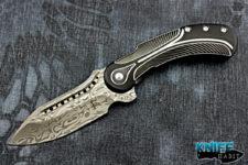semi-custom todd begg knives field marshall knife, black and silver, grosseroser damasteel blade