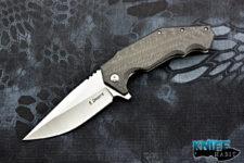 custom randy doucette interceptor frame-lock knife, carbon fiber scale, titanium, s35vn blade steel