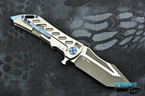 semi-custom darrel ralph ddr dominator xi knife, mokuti clip, bohler n690 blade steel, blue anodized titanium