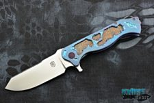 custom noble knives battle worn vindicator knife, blue bronzed titanium, cts xhp blade steel