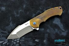 custom reate rick barrett fallout knife, bronzed titanium, mirror polished cts-204p blade steel, blue anodized harware