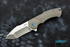 custom reate rick barrett fallout knife, stonewashed titanium, blue anodized hardware, cts-204p blade steel