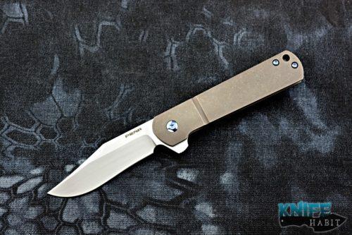 custom enrique pena barlow flipper knife, timascus clip, titanium handle, blue hardware