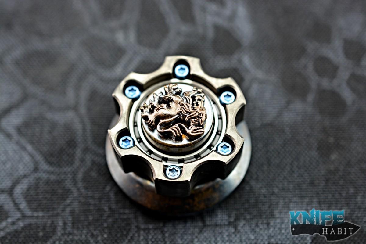 Steel Flame Crusader Lion Cog Ring Spin Set Spinner Custom Gear Knife Habit
