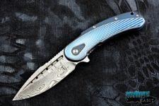 todd begg bodega knife, blue fan pattern handle, damasteel blade