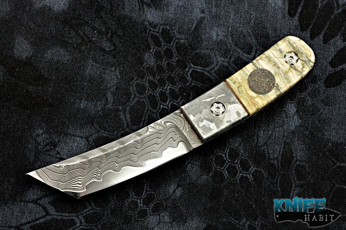 Borras Kustom Designs Full Dress Foodog Meteorite Dinosaur Bone Mammoth  Ivory Damascus Blade Sheath Custom Knife